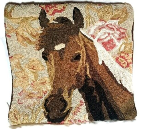 Horse Latch Hook Throw Pillow Case Wool Cotton Cover Needlepoint 18x18