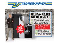 EX Demo Model 22 kW Biomass Pellet Boiler 500 Litre Buffer Tank FREE Pellet Hopper