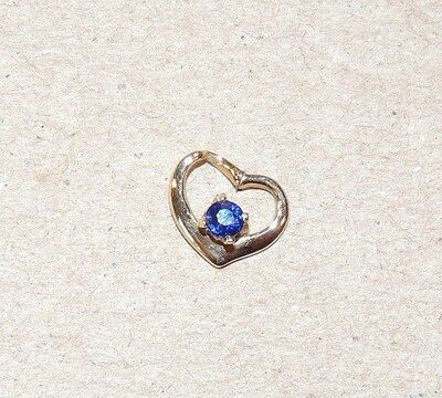 3 Mm Sapphire Heart - 14K Gold Floating Heart with 3mm Sapphire (8119)