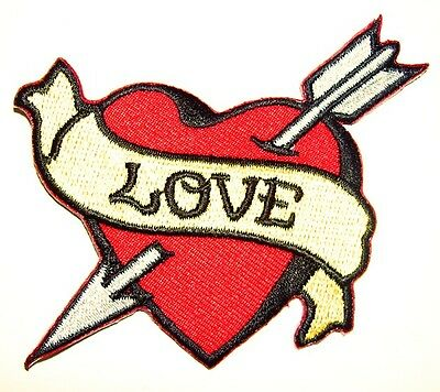 (LOVE Heart embroidered iron on patch tattoo Sailor Jerry rockabilly punk - 65)