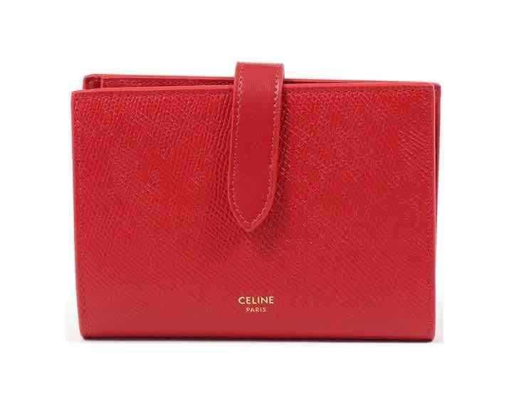 Celine Ladies Red Medium Strap Wallet in Grained Calfskin 10B643BFP.27ED