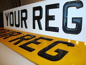 3D CARBON UK FONT Raised Black Resin Domed Gel Car Number Plates PAIR Road Legal