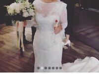 Anny lin Latoya designer wedding dress. Silk, long sleeved, lace, beading, mermaid, sweetheart
