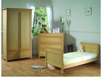 Bebecar French Oak Cot/bed, Wardrobe and Chest of drawers set
