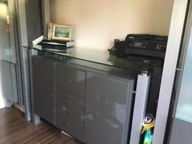 Grey Sideboard/chest of draws/Display unit cabinet used