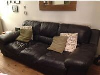 Dark brown leather 3 seater sofa •free delivery•