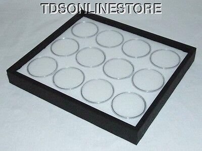 Gem Tray Stackable 12 Jars White Foamblack Tray