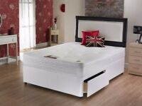 BEST SELLING BRAND ___ FABRIC DOUBLE DIVAN BED BASE WITH OPTIONAL MATTRESS, STORAGE AND HEADBOARD