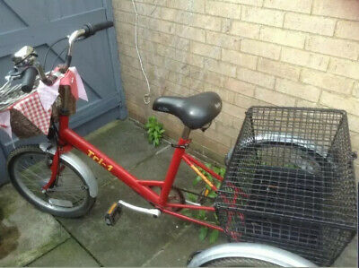 Vintage Red Pashley Adult Tricycle Great Condition Large Basket  LONDON