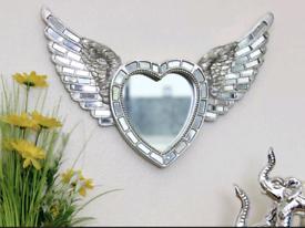 Large Silver Angel Wings Mirror