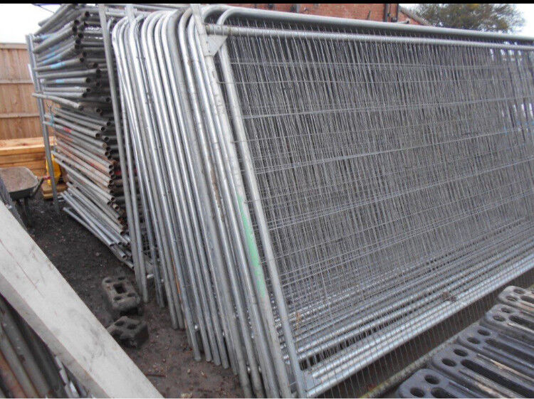 Used Heras Style Temporary Metal Fence Panels Site