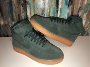 Nike af1 high tops green sued flax Air Force ones sneaker shoes