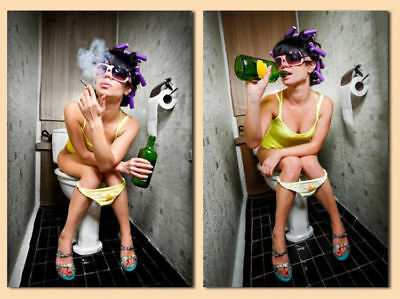 A5 Print – Woman Sat on the Toilet (Funny Spy Cam Sex Drugs Art Home Picture) ()