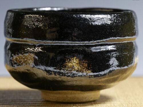 """Japanese Tea Bowl Black Raku Ware Potter Shoraku Sasaki Title of work """"無事"""""""