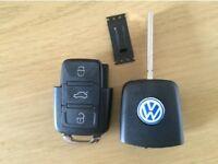 VW SEAT SKODA 3 BUTTON REMOTE KEY CUT AND PROGRAMMED 1JO 959 753 AH /1J0 959 753 DA
