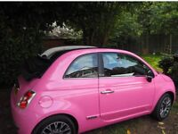 Pink fiat 500 convertible limited edition