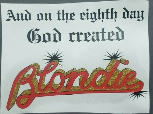 "Blondie And On The 8th Day God... Logo Iron On Heat Transfer 6""x8"" Punk Rock"