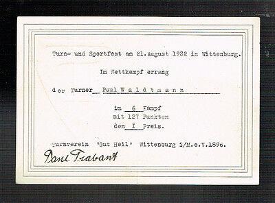 URKUNDE: WITTENBURG TURN- und SPORTFEST 1932