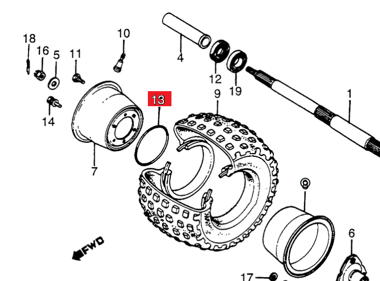 New Atc70 90 110 185s Trx Rim O-ring Wheel Honda 91351-937