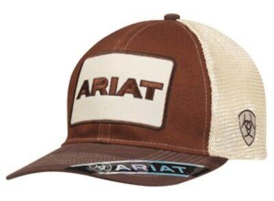 Ariat Mens Baseball Hat Cap Snapback Mesh Back Brown Tan Logo -