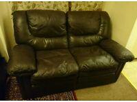 2 seat reclining leather sofa