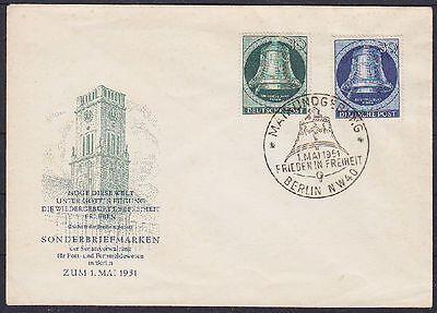 Berlin FDC 76, 78 auf illustriertem Umschlag mit SST Maikkundgebung 01.05.1951