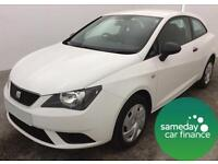 £137.38 PER MONTH WHITE 2013 SEAT IBIZA SC 1.2 S COUPE 3 DOOR MANUAL PETROL