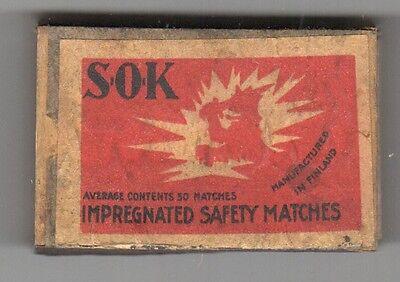 VINTAGE SOK Made in Finland WOODEN MATCH HOLDER Matchbox BOX Matches SAFETY