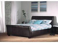King Size Leather Bed + Mattress