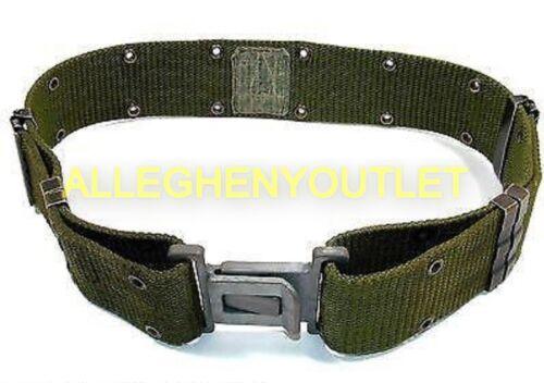 US Military Individual Equipment Pistol Web Belt OD Green Grey Buckle MEDIUM VGC