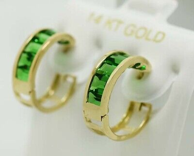 EMERALD 1.10 Cts HUGGIE EARRINGS 14K YELLOW GOLD * NEW WITH TAG * Emerald Huggies Earrings
