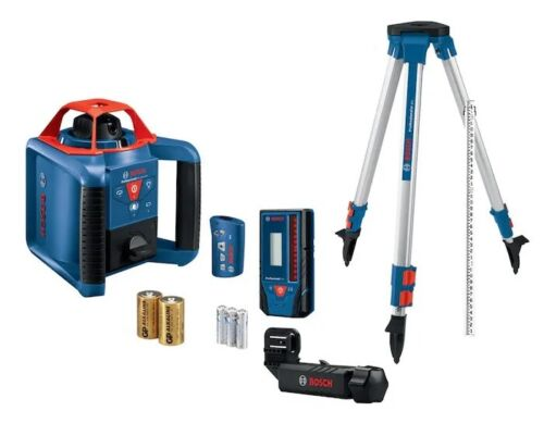 Bosch GRL1000-20HVK-RT Self Leveling Rotary Laser Kit w/ Tripod/Rod/Big Case