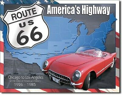 Route 66 - 1926 to 1985 Metal Tin Sign Wall Art