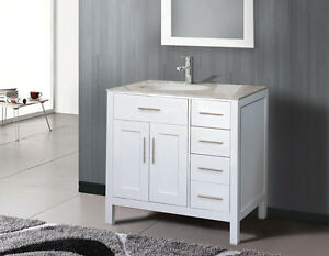 NEW white vanity 36'', marble counter / Vanité blanche 36''