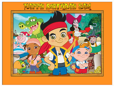 JAKE AND THE NEVERLAND PIRATES PERSONALISED A4/RECTANGLE CAKE TOPPER