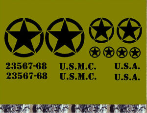 US Army Stern Set 14 St Auto Aufkleber  Sterne USA Jeep willys Rat Offroad