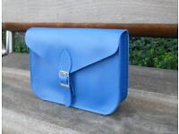 Oxford Satchel - Real Leather - Blue - Vintage Shoulder Handbag Handmade in Cambridge UK
