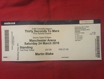 Thirty Seconds to Mars Used Concert Ticket Complete with Stub Manchester Arena