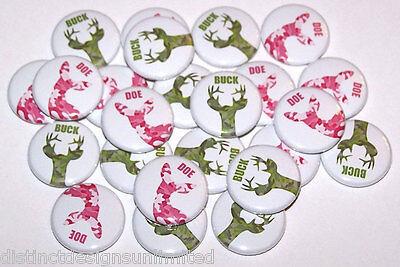 Gender Reveal Buttons (Green Buck & Pink Doe Camo Gender Reveal Shower Pins Buttons Favors - Set of)