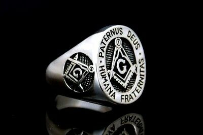 Masonic Freimaurer Silber 925 Ring COMPASS & SQUARE Mason Zirkel & Winkel