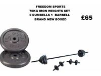 70KG CAST IRON WEIGHTS SET BRAND NEW BOXED