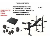 Profitness bench with fly and leg curl with 70KG VINYL weights set brand new boxed PLUS MATS