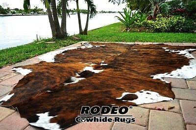 Superior   Hair On Skin  Cowhide Rug  Brindle Size Approx 6X7  7X7 Feet