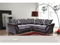 HIGH QUALITY- BRAND NEW SHANNON CORNER or 3+2 SOFA IN LEATHER & FABRIC , in BLACK or BROWN