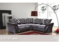 BRAND NEW SHANNON LEATHER & FABRIC SOFA SUITE 3+2 + CORNER - BLACK and GREY, BROWN and BEIGE