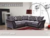 NEW Chennile Fabric Shannon Corner Sofa or 3+2 Seater Sofa in Brown Beige / Black Grey