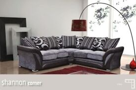 CHEAPEST PRICE EVER-- BRAND NEW SHANNON CORNER or 3+2 SOFA IN LEATHER & FABRIC, in BLACK or BROWN