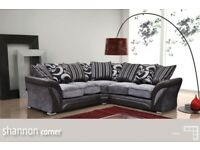 GREY BLACK AND BROWN BEIGE-- NEW SHANNON CORNER or 3+2 SOFA IN LEATHER & FABRIC, in BLACK or BROWN