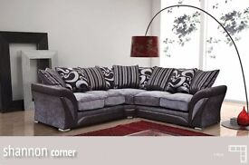 NEW LARGE SHANNON CORNER 5 SEATER GREY / BLACK FABRIC FAUX LEATHER SETTEE FARROW - SAME DAY DELIVERY