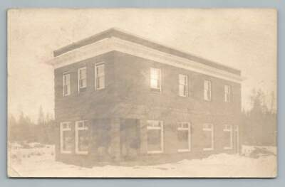 Brick Bank Building SPIRIT LAKE Iowa RPPC Rare Antique Snow Photo 1908